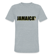 T-Shirts ~ Men's Tri-Blend Vintage T-Shirt ~ Mens Yellow Outline Jamaica T-shirt