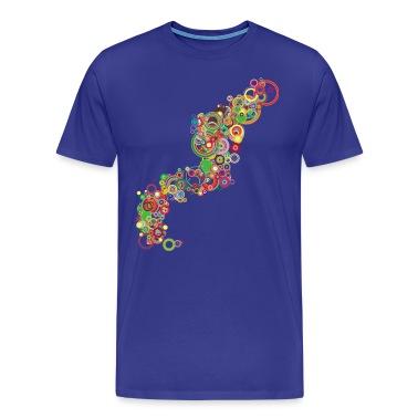 Royal blue Retro Colorful Circles Design T-Shirts
