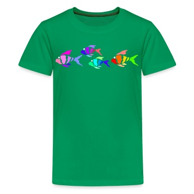 Kelly green Colorful fish (dark shirts) Kids' Shirts