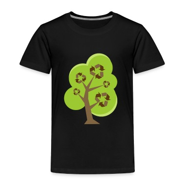 Black Recycle Tree Green Toddler Shirts