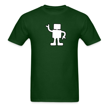 Forest green robot outline two color sabotage T-Shirts