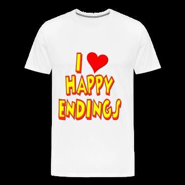 i love happy endings t shirt Orange