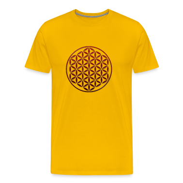 FLOWER OF LIFE - red glass stamp | men's heavyweight shirt