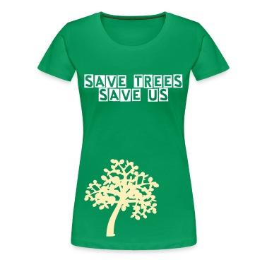save trees save us txt  Trees Women's Plus Size Basic T-Shirt