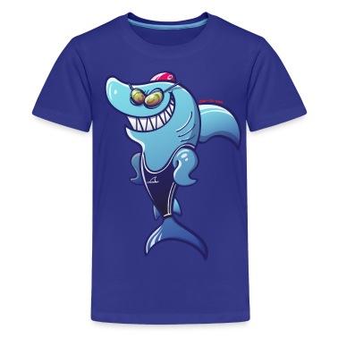 Olympic Swimmer Shark Kids' Shirts