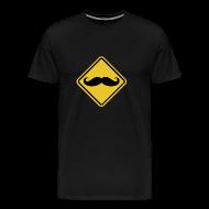 T-Shirts ~ Men's Premium T-Shirt ~ Beware of Moustaches Road Sign t-shirt
