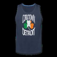 Men ~ Men's Premium Tank Top ~ Corktown Detroit Shamrock Irish Flag