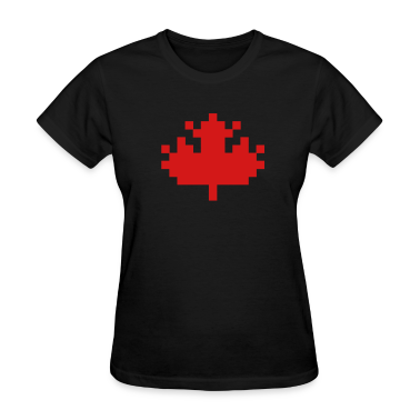 Black Pixel Maple Leaf Women's T-Shirts