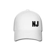 Caps ~ Baseball Cap ~ Black on White NJ Hat