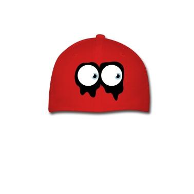 Royal blue spooky ghost eyes Caps