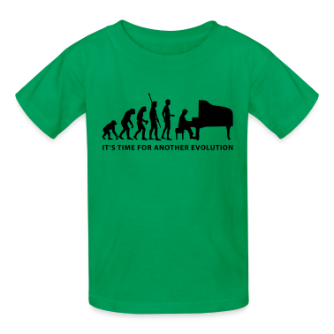 Kelly green evolution_pianist_b Kids' Shirts