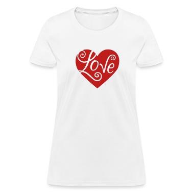 White Valentine Love Heart Women's T-Shirts