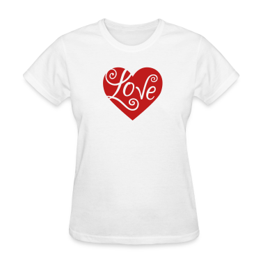 White Valentine Love Heart Women's T-Shirts