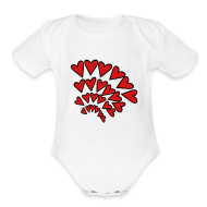Baby & Toddler Shirts ~ Baby Short Sleeve One Piece ~ KKT 'Hearts 4 Arcs Random' Baby SS 1-Piece Tee, White