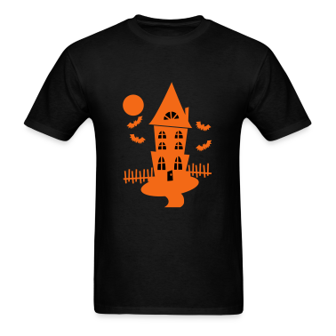 Black Halloween Haunted House With Bats And Moon--VECTOR T-Shirts