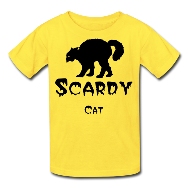 Orange Black cat Kids' Shirts