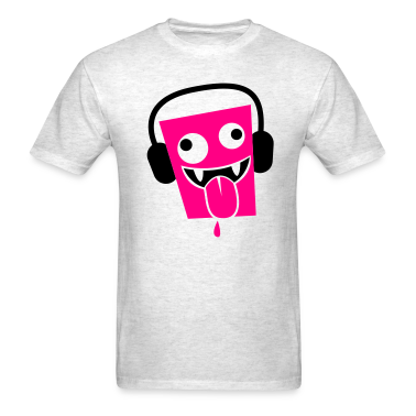 funny insane crazy face with DJ headphones T-Shirts