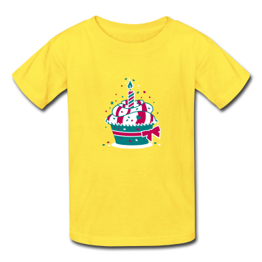 small birthday cake with a candle Kids' Shirts