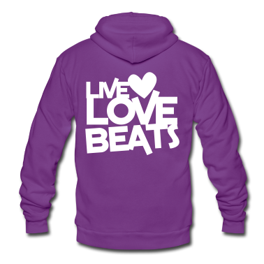 live love beats heart Zip Hoodies/Jackets