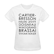 Women's T-Shirts ~ Women's Standard Weight T-Shirt ~ Famous Street Photographers in White [Women's]