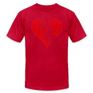 T-Shirts ~ Men's T-Shirt by American Apparel ~ Mi Distressed Heart Men's American Apparel T-Shirt