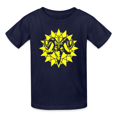 Satanic Goat Head with Chaos Star (inverted) Kids' Shirts