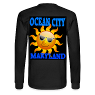 Men's Long Sleeve Black Ocean City MD Sun  T-shirt