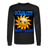 Mens Black Long Sleeve Ocean City MD Sun  T-shirt