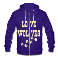 Zip Hoodies/Jackets ~ Unisex Fleece Zip Hoodie by American Apparel ~ LOVE WOLVES PRINT HOODIE
