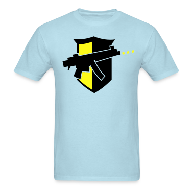 digital gun black on a shield with bullets T-Shirts