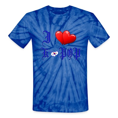 I LOVE K-POP RED HEARTS& S.KOREA FLAG Unisex Tie Dye T-Shirt