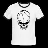 T-Shirts ~ Men's Ringer T-Shirt by American Apparel ~ Skull Basketball