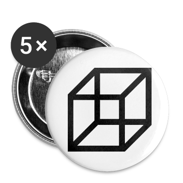 necker cube - reversible figure Buttons