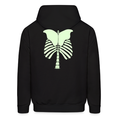 Skeleton Bones Glow in the Dark: Front and Back Men's Hooded Sweatshirt