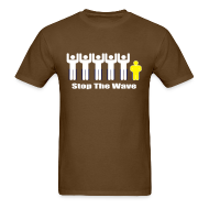 T-Shirts ~ Men's Standard Weight T-Shirt ~ Men's Brown/White/Yellow Stop The Wave Logo T-Shirt