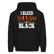 Hoodies ~ Men's Hooded Sweatshirt ~ I Bleed Orange and Black Hoodie - Black