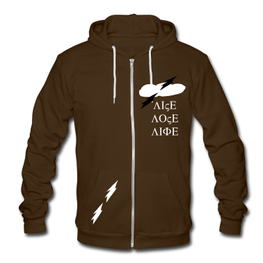 dark clouds lightning nature vector graphic art Unisex Fleece Zip Hoodie by American Apparel