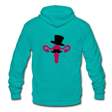 completely tasteless woman's reproductive system with a top hat and moustache Zip Hoodies/Jackets