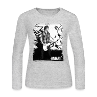 Long Sleeve Shirts ~ Women's Long Sleeve Jersey T-Shirt ~ Amasic Black & White
