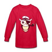 An owl with captain's hat, eye patch and pipe tobacco Kids' Shirts