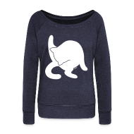Long Sleeve Shirts ~ Womens Wideneck Sweatshirt ~ White Cat