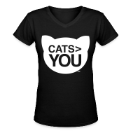 Women's T-Shirts ~ Women's V-Neck T-Shirt ~ Cats  You