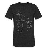 T-Shirts ~ Unisex Tri-Blend T-Shirt by American Apparel ~ T-Rex Trying Ukulele White Design (Am Apparel)