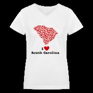 Women's T-Shirts ~ Women's V-Neck T-Shirt ~ I Love Alabama V-Neck