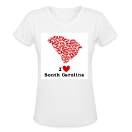 Women's T-Shirts ~ Women's V-Neck T-Shirt ~ I Love Alabama V-Neck