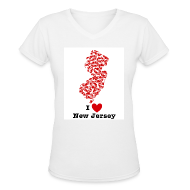 Women's T-Shirts ~ Women's V-Neck T-Shirt ~ I Love New Jersey V-Neck