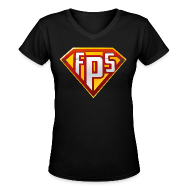 Women's T-Shirts ~ Women's V-Neck T-Shirt ~ Ladies V-Neck : FPS Super Hero Shirt