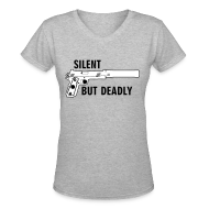 Women's T-Shirts ~ Women's V-Neck T-Shirt ~ Womens V-Neck : Silent But Deadly