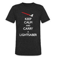 T-Shirts ~ Men's Tri-Blend Vintage T-Shirt ~ Keep Calm Lightsaber Red Vintage