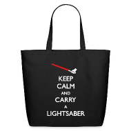 Bags & backpacks ~ Eco-Friendly Cotton Tote ~ Keep Calm Lightsaber Tote Bag
